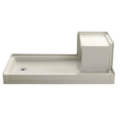 Kohler Tresham 60 X 32 Single Threshold Left Hand Drain Shower Base With Integral Right Hand Seat Shower Base Acrylic Shower Base Shower Base Installation