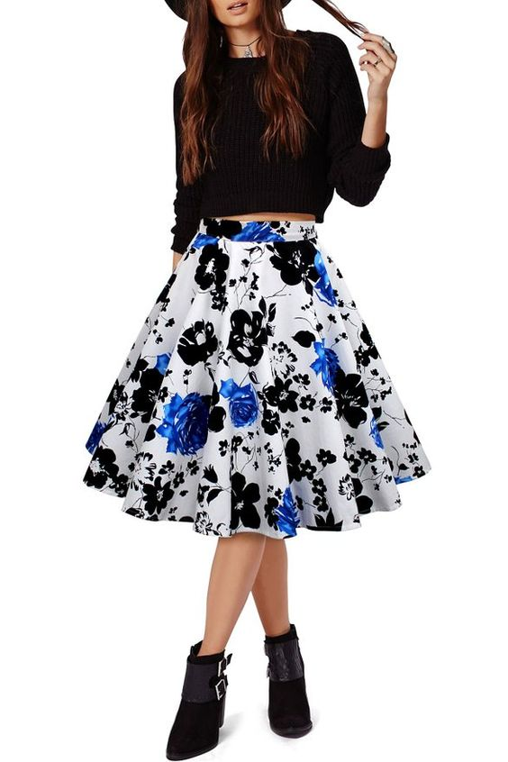 Black Butterfly Vintage Full Circle 1950's Floral Skirt at Amazon Women's Clothing store: