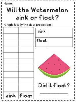 A simple Science Activity recording sheet to see if watermelon will sink or float. Font from: Hello Literacy Clip art from: My Cute Graphics