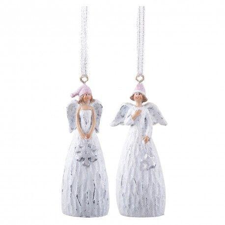 Pair Of Hanging Angel Christmas Tree Decorations In White #Christmas # Decoration #angel