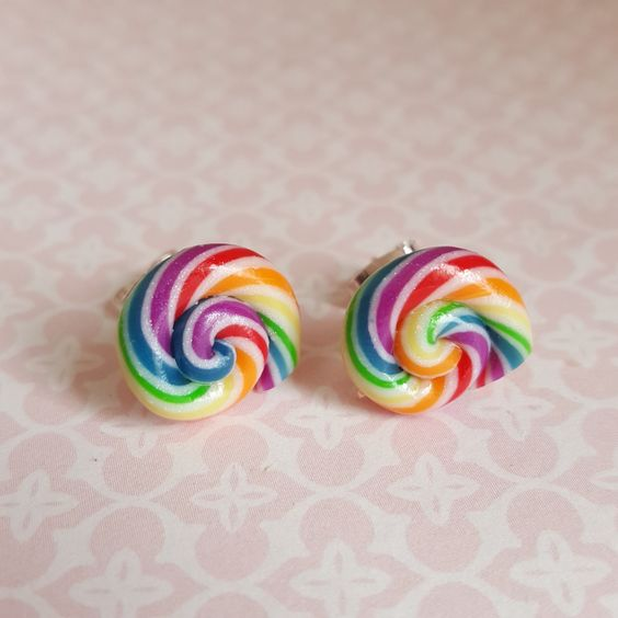 Rainbow sweet earrings, polymer clay bright sweet Swirl posts, silver plated…