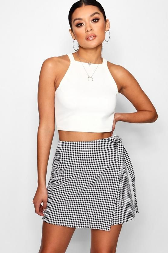 Gingham Woven Wrap Tie Mini Skirt - boohoo, skirt, how to wear a skirt, fashion, outfit inspo