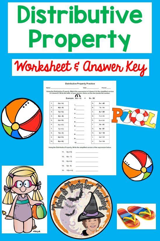 Distributive Property Worksheet And Answer Key Distributive Property Algebraic Expressions Algebra Worksheets Distributive property worksheet answers
