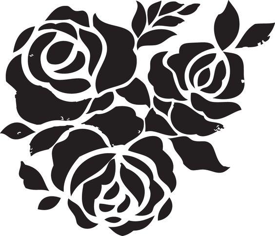 Plantilla stencil de rosas, ideal para trazar con Silhouette.