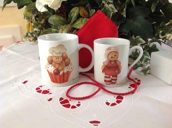 Tazze mug dipinte con gingerbread