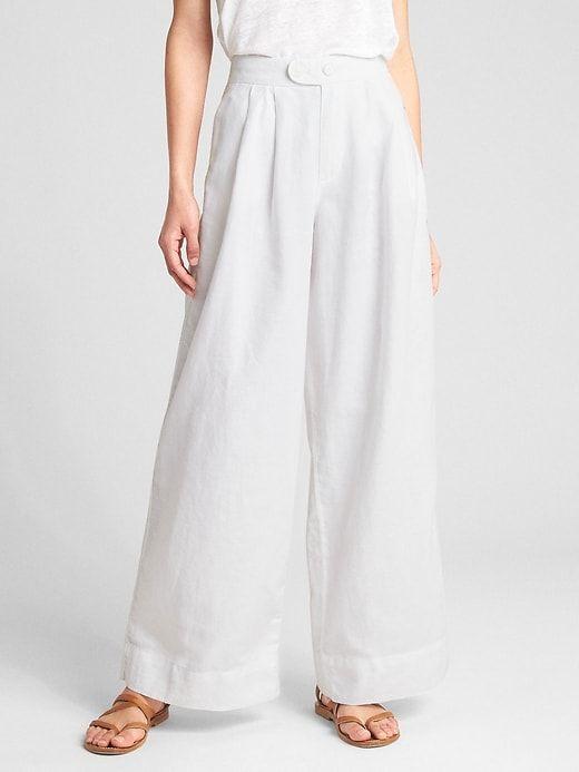 Cropped Womens drawstring Cotton Linen High Waist Wide Leg Casual Pants Trousers