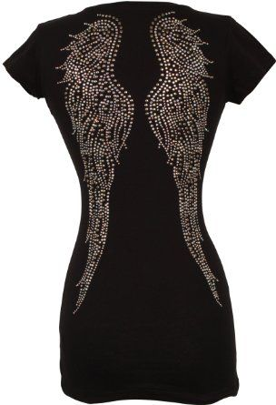 Amazon.com: V-neck Tee Cotton T-shirt Top Studded Crystal Angel Wings Junior Plus Size: Clothing
