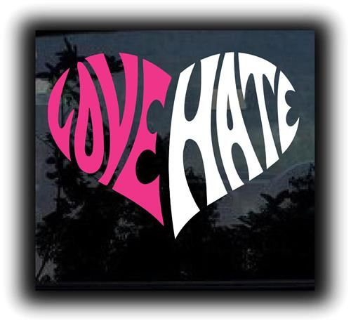 Love Hate Heart Stickers For Cars  http://customstickershop.com