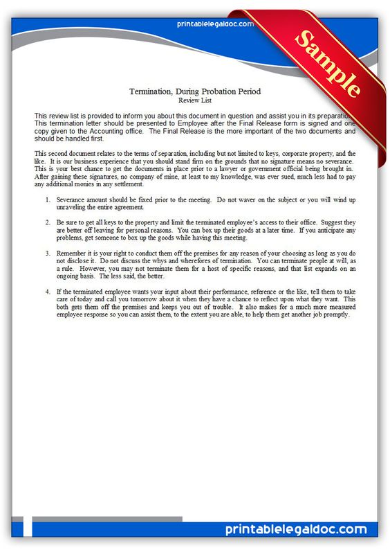 Printable termination during probation period Template PRINTABLE - termination letter 2
