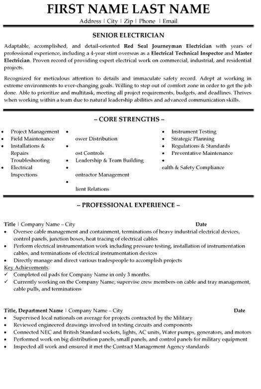 Senior Electrician Resume Sample Template In 2020 Journeyman Electrician Resume Template Electrician