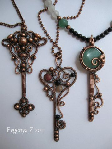Key pendants made of wrapped wire- love these