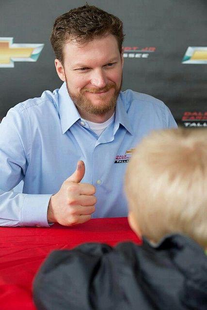 Dale Jr. thumbs up for little fan
