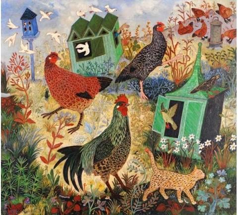Feeding The Hens In 2020 Art Naive Art Chicken Art