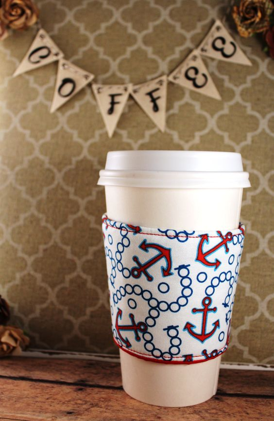 Anchors Away Coffee Cozy - Anchors Coffee Cozy - Coffee Cozy - Fabric Coffee Cozy - Tea Cozy by SewLoveToSew on Etsy