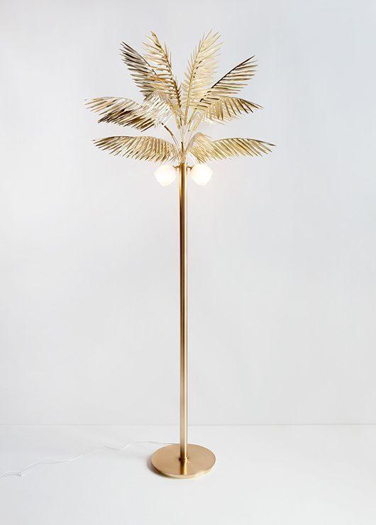 Lampadaire doré palmier /tendance déco exotique 2015 Palm Lamp www.pepperbutter.com
