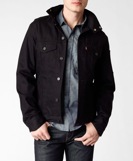 Commuter Hooded Trucker Jacket by Levis. Black nanotechnology fabric. This pair of Levi's® Jeans is part of our program that minimizes water in the finishing process.