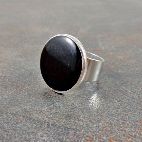 Black Statement Ring Round Ring Resin Adjustable by Pilboxx