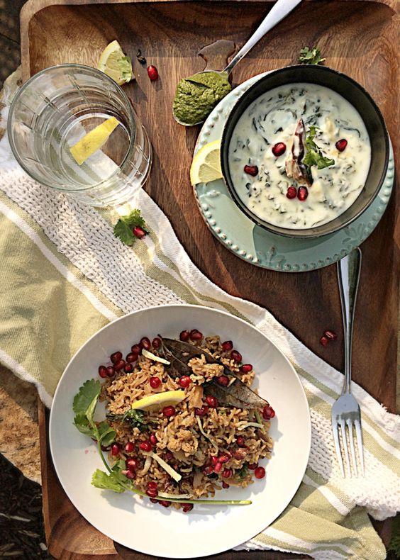 Gobhi Anaar Pulav with Spinach Garlic Raita – Diabetes Friendly Thursdays | simplyvegetarian777