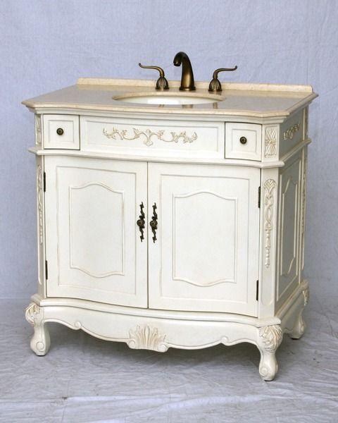Single Sink Bathroom Vanity, 36 Inch Antique White Bathroom Vanity
