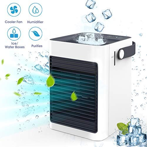 Chefavor Air Cooler Portable Air Conditioner Mini Fan Personal Noiseless Evaporative Air Humidifier For Home Room Office Desktop Nightstand White Air Cooler Evaporative Air Cooler Evaporative Cooler