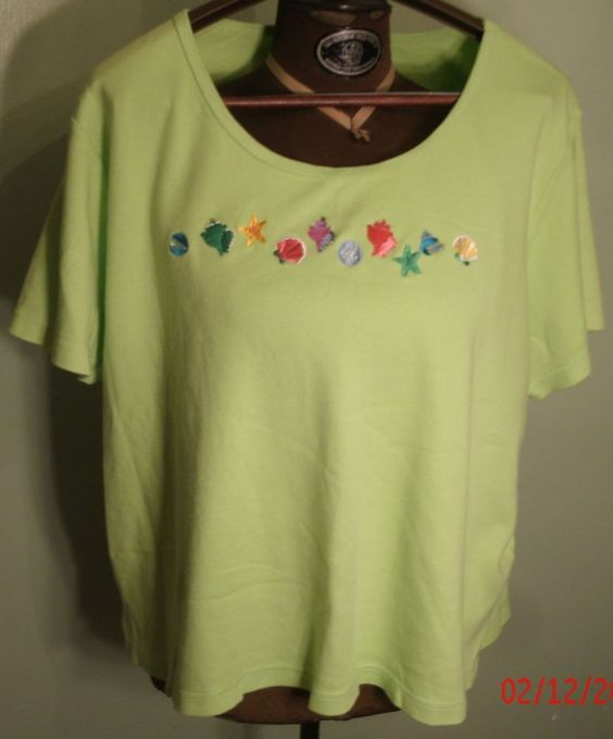 Quacker Factory Lime Green Womens 2XL Short Sleeve T-Shirt Cute Beaded Shells…