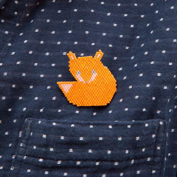 Broche Little fox - en perles miyuki modèle déposé ! merci de citer #motifblackpearl visible sur instagram @b_l_a_c_k_p_e_a_r_l