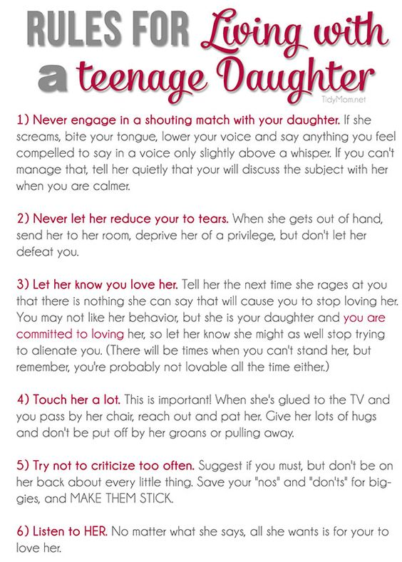 Rules for Living with a Teenage Daughter + free printable at - teenage resume