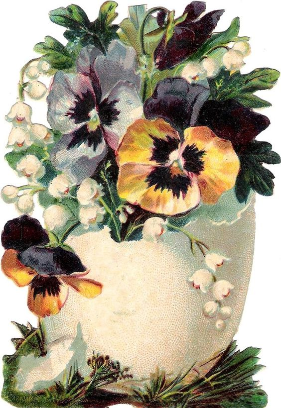 Oblaten Glanzbild scrap die cut chromo Oster Ei 14cm easter egg pansy flowers: