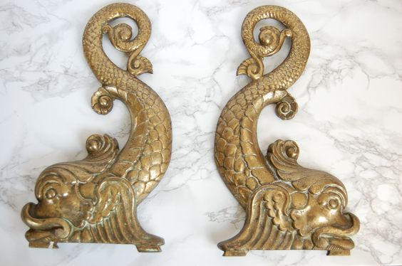 Brass Koi Andirons - Vintage Brass Koi Metal Wall Hangings - Chinoiserie Chic Brass Koi by PursuingVintage1 on Etsy