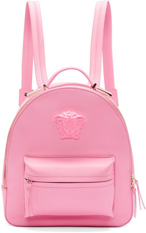 Versace Pink Leather Medusa Backpack