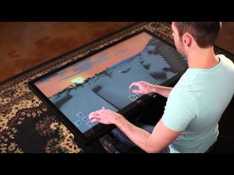 Playing Minecraft On 46 Multitouch Coffee Table With Android 4 4 Kitkat Youtube Enrich