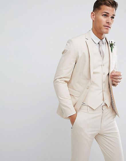 ASOS DESIGN wedding skinny suit jacket in stretch cotton in stone