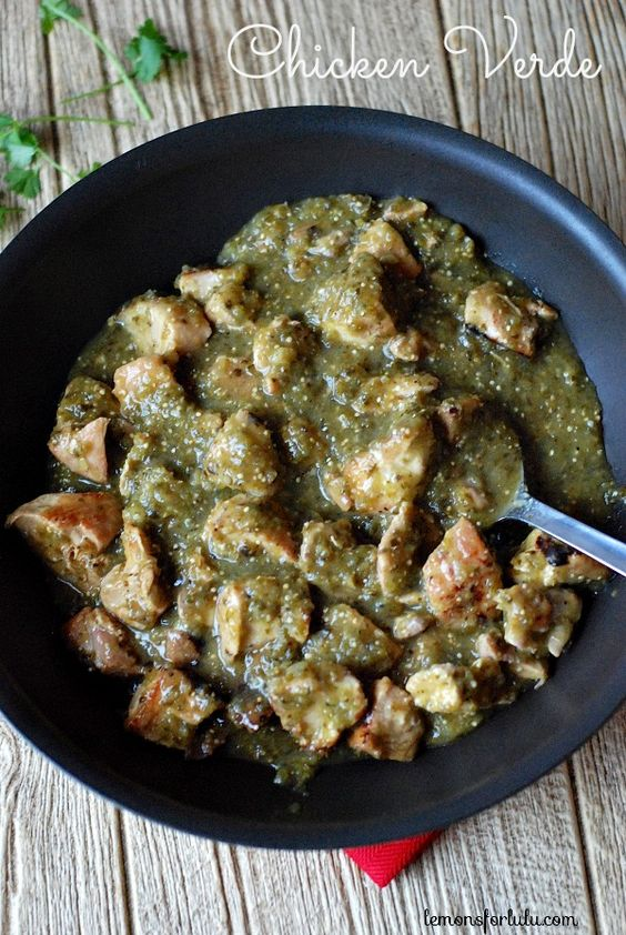 Chicken verde poblano chile boneless chicken thighs and for Cooking chicken thighs in crock pot
