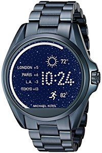 Michael Kors Access Touch Screen Blue Bradshaw Smartwatch MKT5006Powered by Android Wear. Compatible with iPhone and Android devices. Technology meets style with our Michael Kors Access Collection. Fully personalize your watch by selecting or customizing the watch face of your choice and changing out the straps to match your activity or look. Stay connected with display notifications including texts, calls, emails, and keep track of your fitness goals by tracking your sleep, steps, and…
