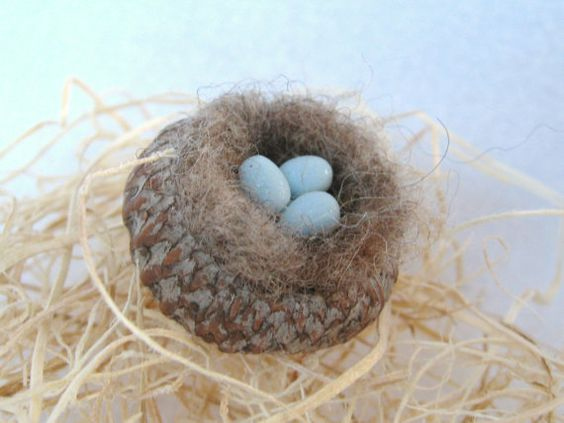 Needle Felted Birds Nest with Clay Eggs by Lisa Haldeman ~   www.lovinclaydolls.etsy.com