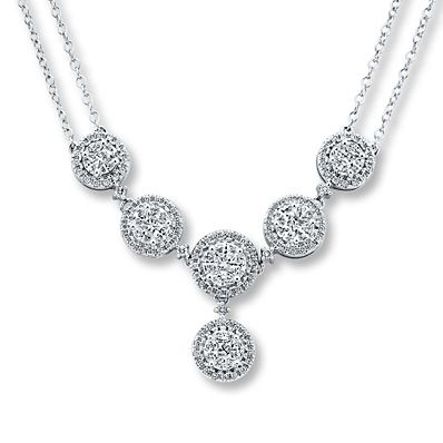 Diamond Necklace 1 1/3 Carats tw 14K White Gold