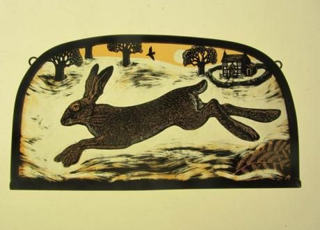 """""""Winter Hare"""" by stained glass artist, Tamsin Abbott"""