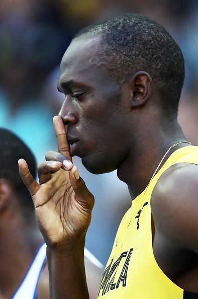 Usain Bolt of Jamaica reacts ahead of the Men's 100m Round 1 on Day 8 of the Rio…