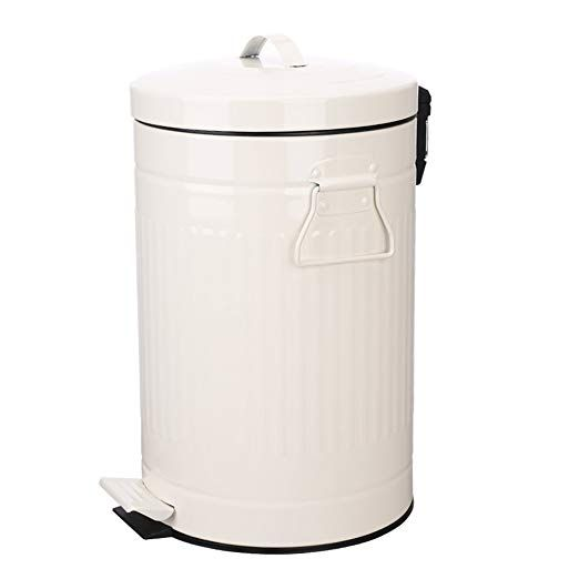 Amazon Com Bathroom Trash Can With Lid White Bathroom Bedroom Trash Can Soft Close Retro Vintage Kitchen Garbage Can Steel Garbage Cans Fo Bathroom Trash Can