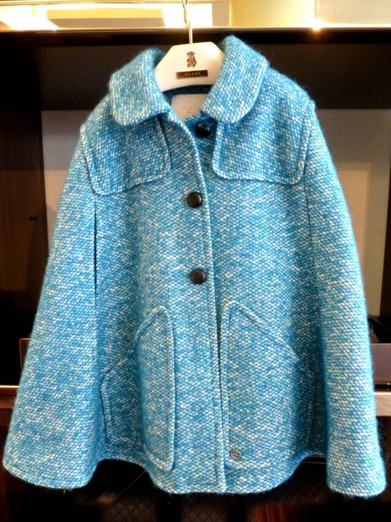 Sky blue tweed poncho from Gucci Kidswear for fall 2014