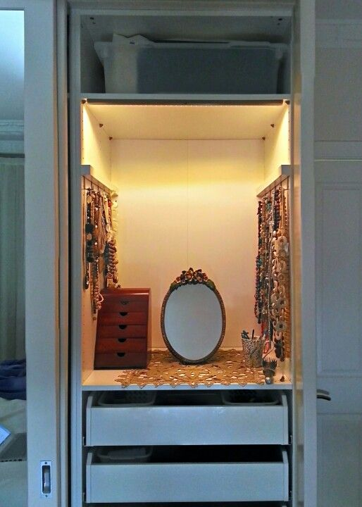 ikea hack dressing table inside an ikea pax wardrobe bedroom pinterest dressing hooks. Black Bedroom Furniture Sets. Home Design Ideas