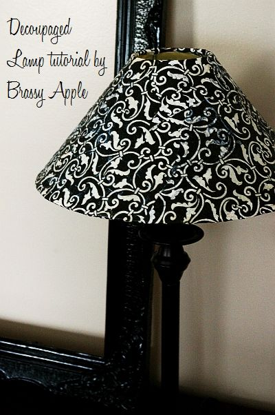 the tutorial for the mod podge lamp shade - to go with the book lamp! :D