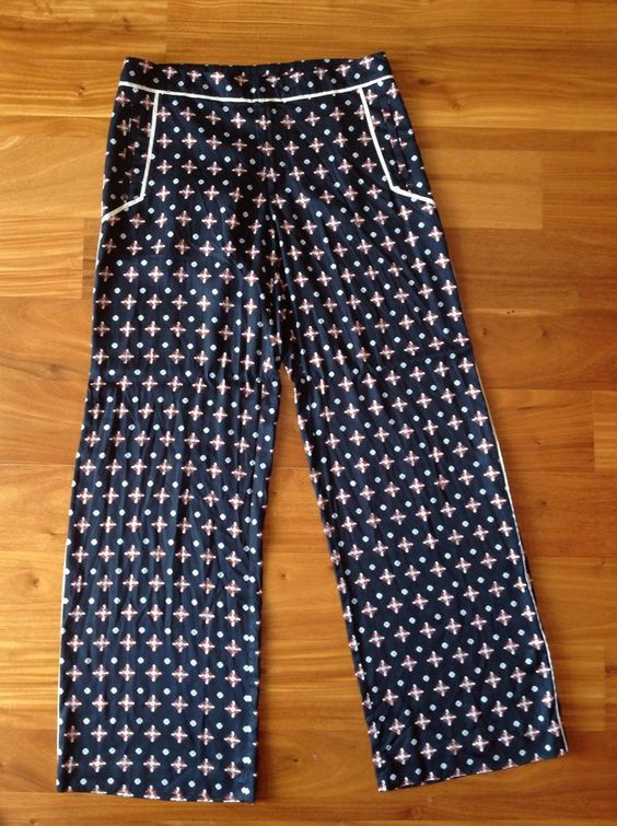 ELEVENSES ANTHROPOLOGIE Black Multi Geo Print Wide Leg Pants Size 8T  8 TALL #Elevenses #CasualPants
