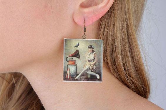 Boucles d oreilles carrées imprimé photo de FairyJewelries sur DaWanda.com