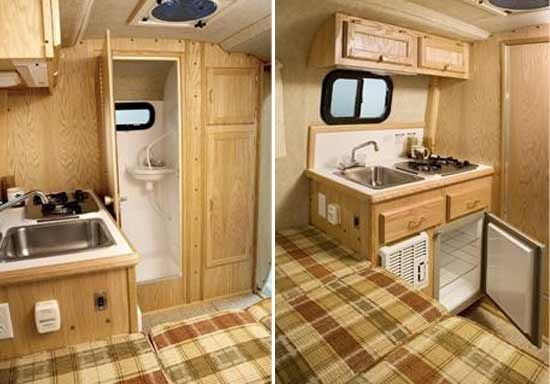 Scamp 13 39 small travel trailer interior deluxe model bathroom and kitchen vintage campers for Small camper trailers with bathrooms