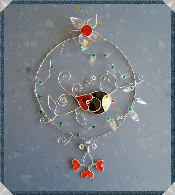 """""""Un oiseau dans les branches"""": suspension décorative : Décorations murales par fil-et-mousse"""