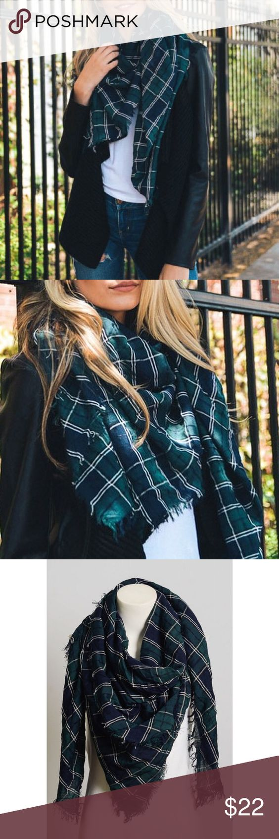 """🆕 Crinkled Plaid Scarf Perfect addition to any outfit. Crinkled tartan plaid frayed edge scarf. Made of viscose material. Measurements 57"""" X 57"""" Bchic Accessories Scarves & Wraps"""