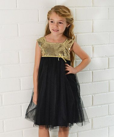 This Black &amp- Gold Sequin Party Dress - Toddler &amp- Girls is perfect ...
