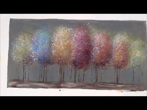 Easy Acrylic Painting Tutorial Impressionist Trees