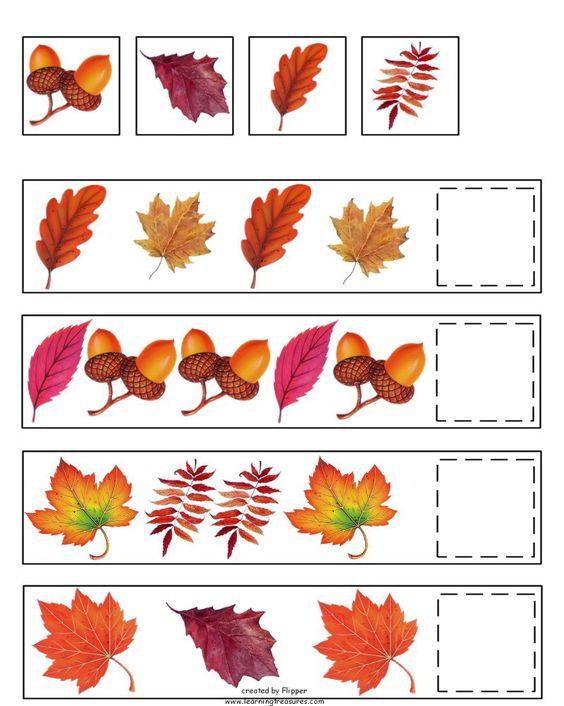 Fall Pattern Skills Math Worksheet by Learning Treasures – Fall Math Worksheets